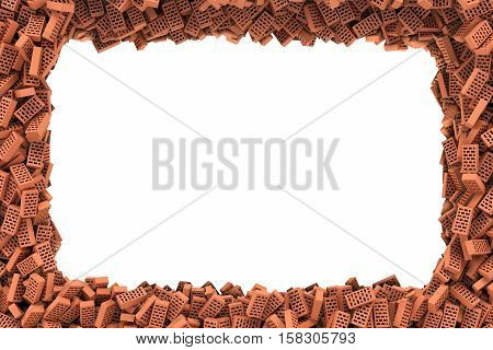 3d rendering of rectangle frame of bricks on white background. Photo frame. Building material. Industry-specific background.