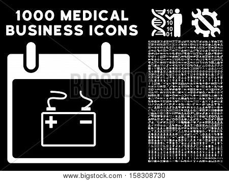 White Accumulator Calendar Day vector icon with 1000 medical business pictograms. Set style is flat symbols, white color, black background.