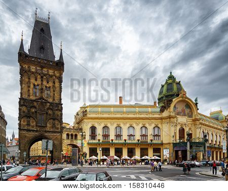 The Powder Tower And The Municipal House In Prague