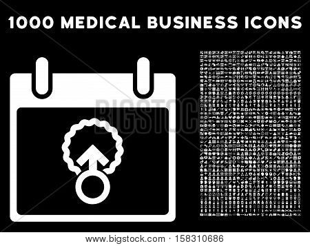 White Cell Penetration Calendar Day vector icon with 1000 medical business pictograms. Set style is flat symbols, white color, black background.