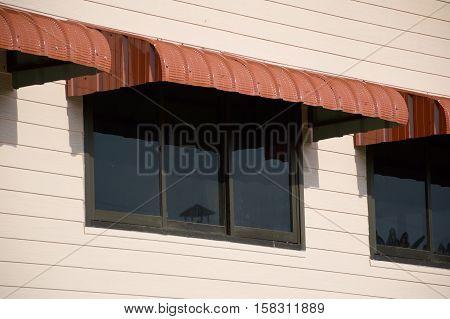 close up rainproof awning of slide window