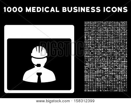 White Engineer Calendar Day vector icon with 1000 medical business pictograms. Set style is flat symbols, white color, black background.