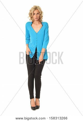 Portrait Of Young Beautiful Blonde In Blue Cardigan Isolated