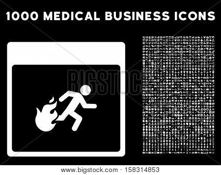 White Fire Evacuation Man Calendar Page vector icon with 1000 medical business pictograms. Set style is flat symbols, white color, black background.