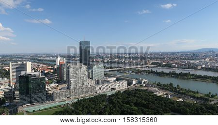 Donaucity and the Danube River in Austrias Capital Vienna