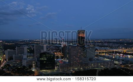 Donaucity and UN-Building the Danube River in Austrias Capital Vienna at Night