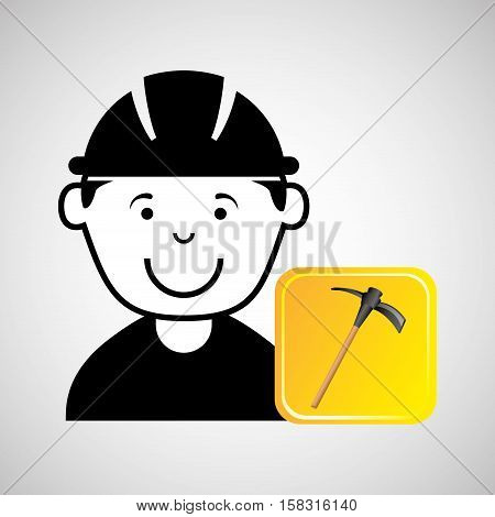 construction worker pick axe graphic vector illustration eps 10