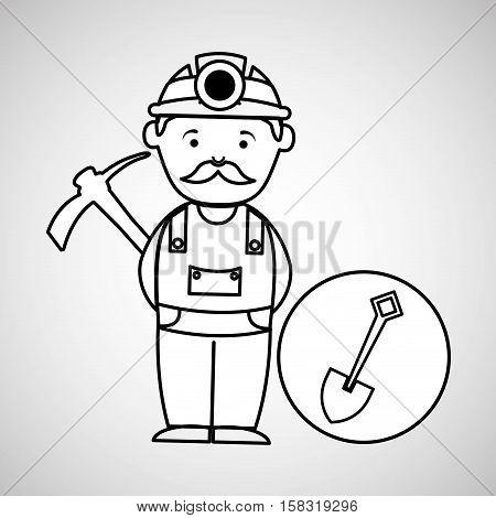 mine worker pickaxe with shovel vector illustration eps 10