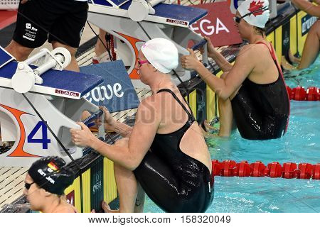 Hong Kong China - Oct 29 2016. Olympian and world champion swimmer Emily SEEBOHM (AUS) at the start. FINA Swimming World Cup Preliminary Heats Victoria Park Swimming Pool.