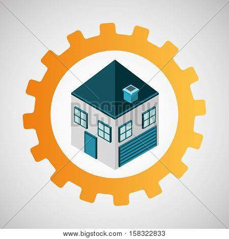 under construction gear house vector illustration eps 10