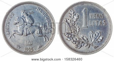 1 Litas 1925 Coin Isolated On White Background, Lithuania