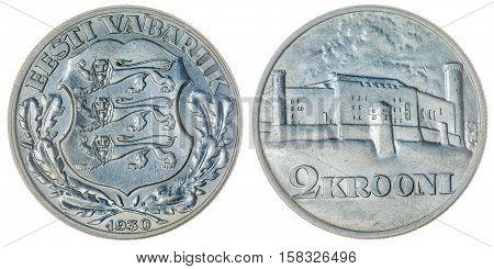 2 Krooni 1930 Coin Isolated On White Background, Estonia