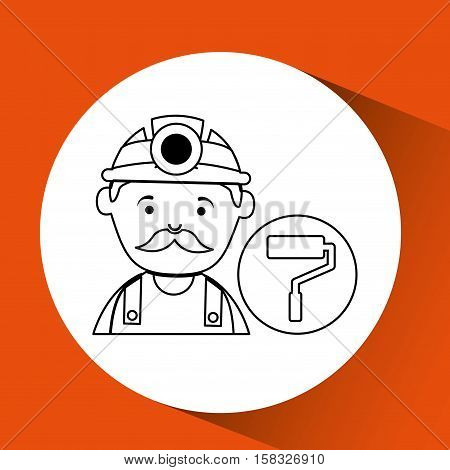mine worker pickaxe with paint roller vector illustration eps 10