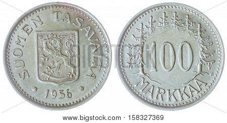 100 Markkaa 1956 Coin Isolated On White Background, Finland