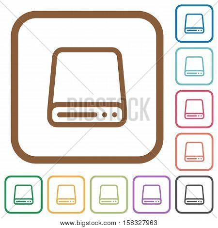 Hard disk drive simple icons in color rounded square frames on white background