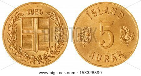 5 Aurar 1966 Coin Isolated On White Background, Iceland