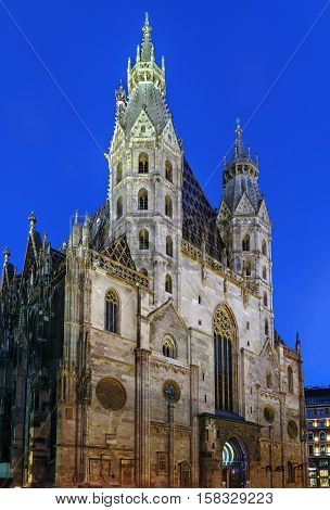 St. Stephen's Cathedral is the most important religious building in Vienna Austria. Facade