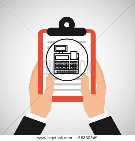 hand holding shop online cash register vector illustration eps 10