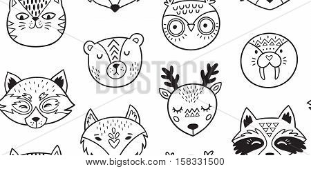 Vector seamless pattern of cute animals - fox, owl, seal, polar bear, deer, raccoon, red panda and cat. Cartoon style. Ink doodle animal portraits