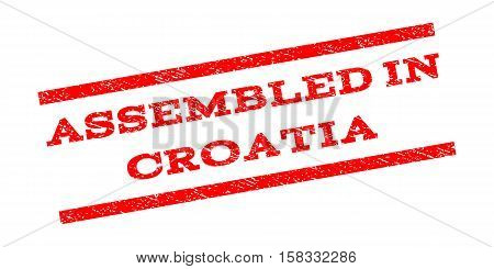 Assembled In Croatia watermark stamp. Text tag between parallel lines with grunge design style. Rubber seal stamp with unclean texture. Vector red color ink imprint on a white background.