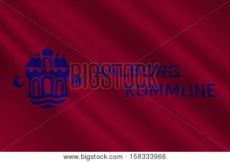 Flag of Aalborg is a municipality in Region Nordjylland on the Jutland peninsula in northern Denmark. 3d illustration