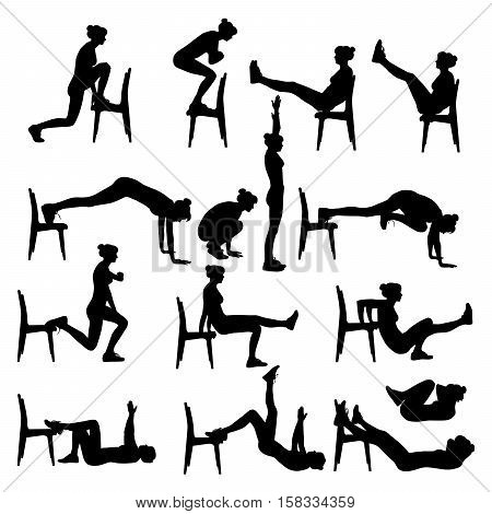 Exercises at home with a chair. Slim girl doing sport workout.