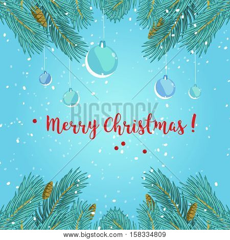 Christmas greeting card background poster. Stock illustration with fir branches and Christmas balls on blue background.
