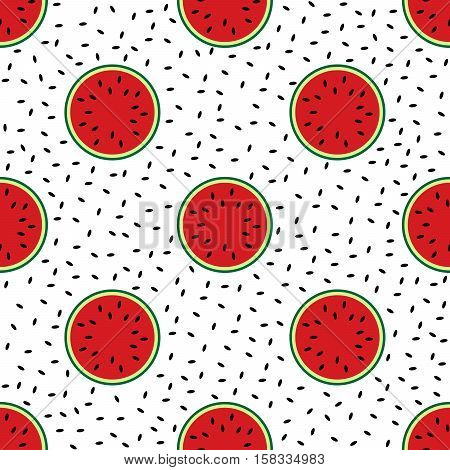 Seamless pattern of cut ripe watermelon and black watermelon seeds on a white background
