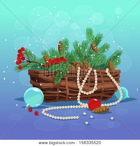 Christmas greeting card background poster. Set of basket of fir branches berries and cones and Christmas balls on blue background. Vector stock illustration.
