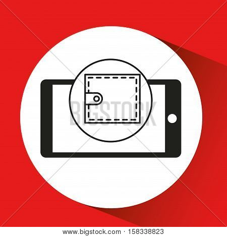 smartphone e-commerce wallet graphic vector illustration eps 10