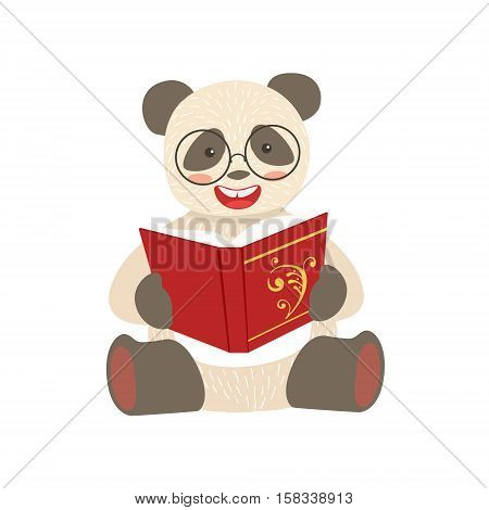 Panda Smiling Bookworm Zoo Character Wearing Glasses And Reading A Book Cartoon Illustration Part Of Animals In Library Collection. Flat Vector Drawing With Childish Design Fauna Studying The Literature.