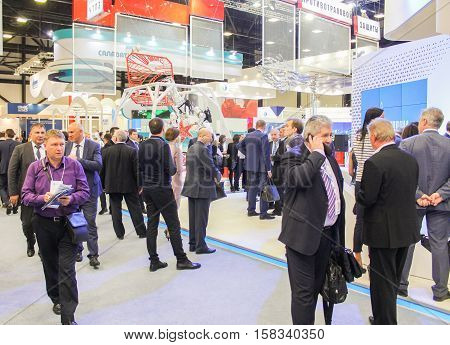 St. Petersburg, Russia - 5 October, Different people in the Gas Forum, 5 October, 2016. Petersburg Gas Forum which takes place in Expoforum.