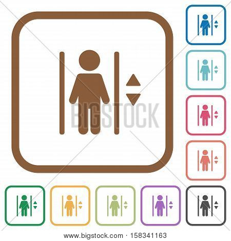 Elevator simple icons in color rounded square frames on white background