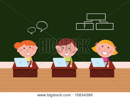 Children & School: Cute Happy Kids In Classroom Using Laptop.