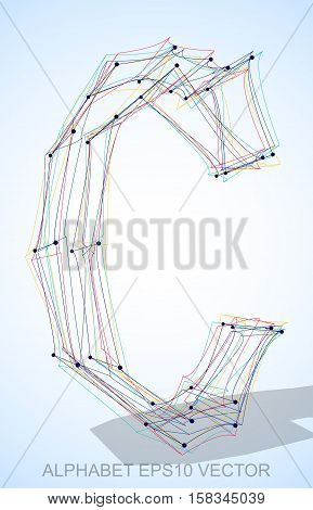 Abstract illustration of a Multicolor sketched uppercase letter C with Transparent Shadow. Hand drawn 3D C for your design. EPS 10 vector illustration.