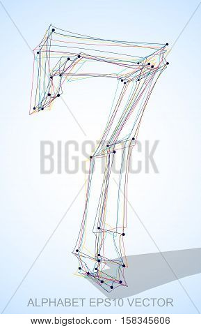 Abstract illustration of a Multicolor sketched number 7 with Transparent Shadow. Hand drawn 3D number 7 for your design. EPS 10 vector illustration.