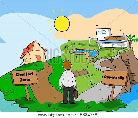 Business Opportunity Motivation Comfort Zone Concepts. A hand drawn vector cartoon illustration concept of a businessman standing in a branching paths between comfort zone and opportunity.