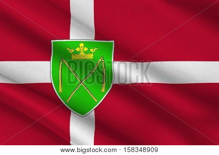 Flag of Bronderslev is a municipality in Region Nordjylland in Denmark. 3d illustration