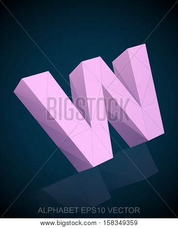 Abstract Pink 3D polygonal lowercase letter W with reflection. Low poly alphabet collection. EPS 10 vector illustration.
