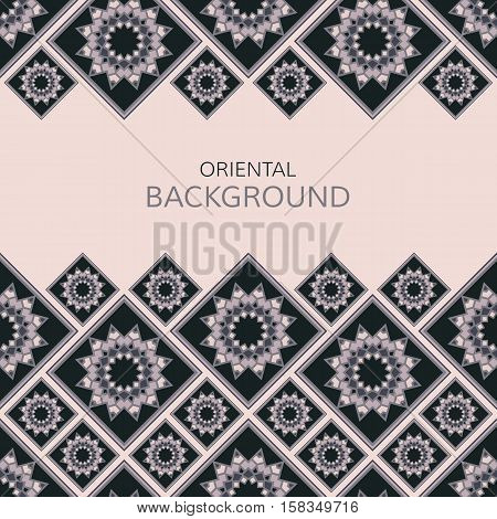 Vector geometric frame oriental style. Seamless vector borders for design. Oriental vector background.
