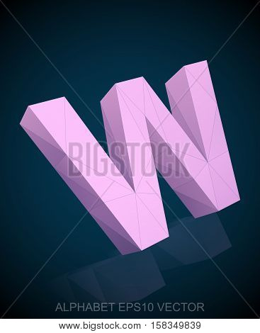 Abstract Pink 3D polygonal uppercase letter W with reflection. Low poly alphabet collection. EPS 10 vector illustration.