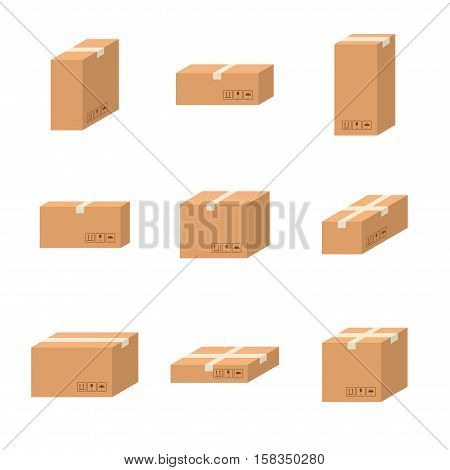 Set delivery cardboard boxes different sizes carton vector isolated on white background. Cardboard boxes pack with handling packing icons. Closed parcel box, package paper boxes in flat style.