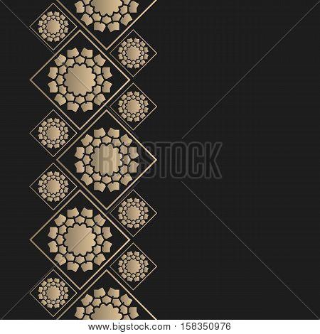 Vector geometric frame oriental style. Seamless vector border for design. Oriental vector background.