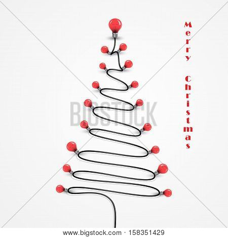 Colorful light bulbs and Christmas tree symbol .Merry christmas abstract background.Design for Christmas postcard Merry Christmas iconlogo or Merry Christmas background.Vector illustration