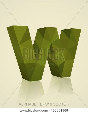 Abstract Khaki 3D polygonal lowercase letter W with reflection. Low poly alphabet collection. EPS 10 vector illustration.