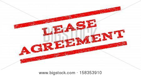 Lease Agreement watermark stamp. Text caption between parallel lines with grunge design style. Rubber seal stamp with unclean texture. Vector red color ink imprint on a white background.