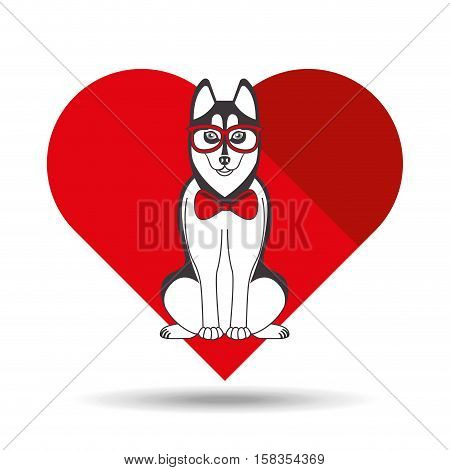 cute dog pet with siberian glasses heart background vector illustration eps 10