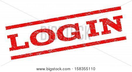 Log In watermark stamp. Text caption between parallel lines with grunge design style. Rubber seal stamp with dirty texture. Vector red color ink imprint on a white background.