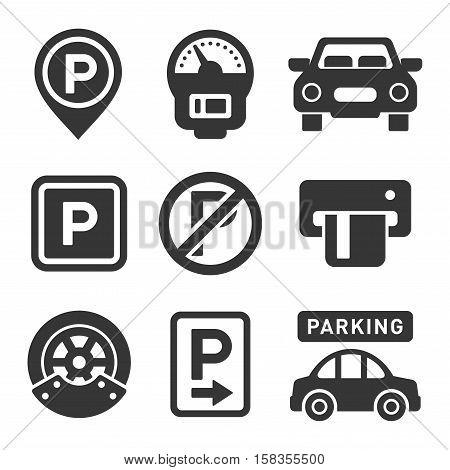 Parking Icon Set on White Background. Vector Illustration