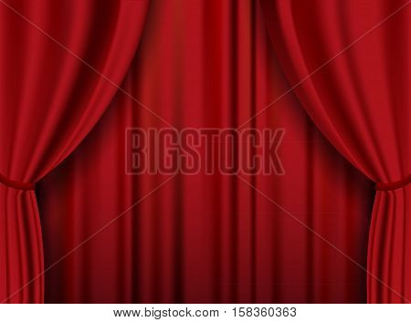 Red theater heavy curtain. Vector background. Vector art